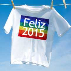 Camiseta Feliz 2015 Arco Iris