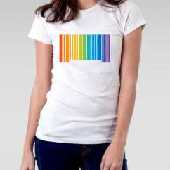 Camiseta Gay baby look código de barras