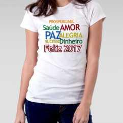 Camiseta Feminina Ano Novo Frases 2017