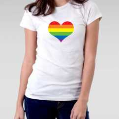 Camiseta Baby Look Coração LGBT