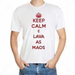 Camiseta Keep Calm E Lava As Maos
