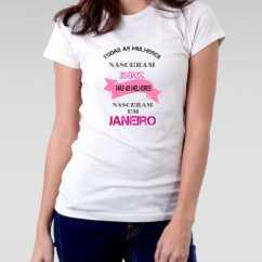 Camiseta Nascidas Em Janeiro Feminina