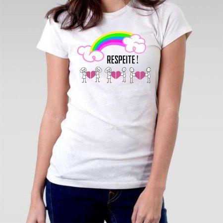 2af05118ba Camiseta LGBT Baby Look Respeite - Camisetas Personalizadas - eCamisetas