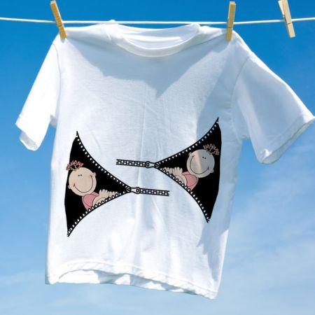 Camiseta Gravida Gemeas Meninas Zipper