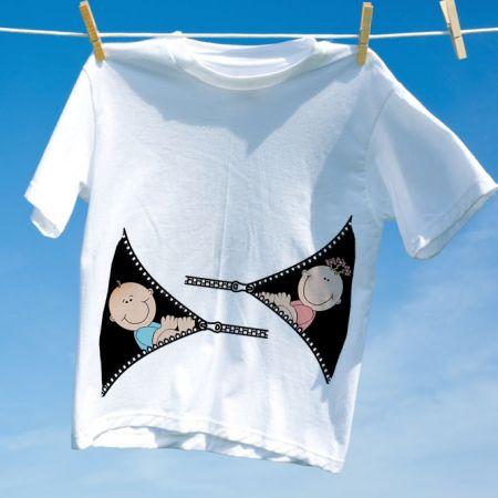 Camiseta Gravida Gemeos Menina Menino Zipper