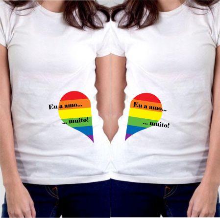 4a2b1fdfa6 Camiseta Baby Look Eu a Amo LGBT Combo - Camisetas Personalizadas ...