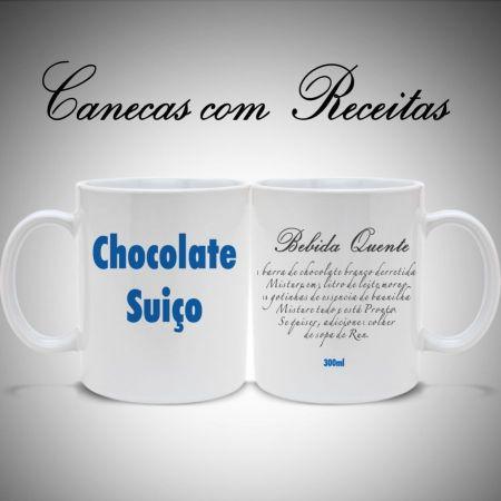 Caneca Receita Chocolate Suico