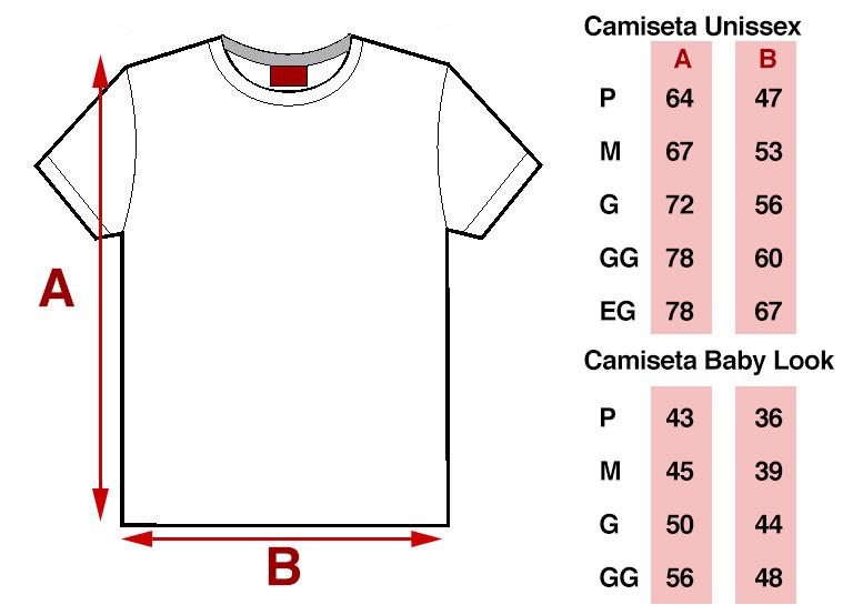 Veja as medidas das camisetas personalizadas