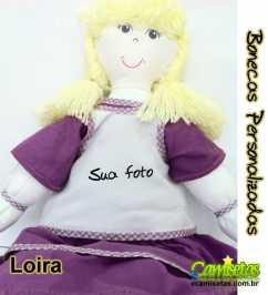 Boneca de Pano Personalizada  Loira Lilas