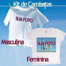 Kit Camiseta Masculina e Baby Look Personalizadas Brancas