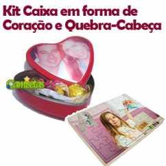 Kit Caixa Personalizada Coração e Quebra cabeças 35 peças personalizado