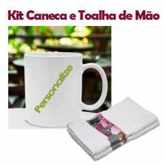 Kit Caneca de Plástico e Toalha de Mão Personalizada