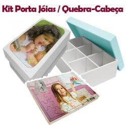 Kit Porta Jóias e Quebra cabeças 35 peças personalizado